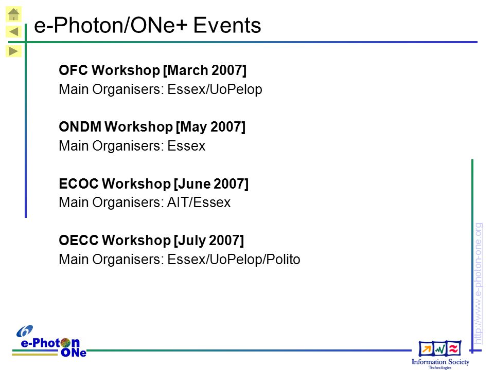 e-Photon/ONe+ Events OFC Workshop [March 2007]